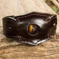 Men's tiger's eye leather cuff bracelet, 'Fierce'