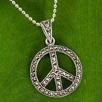 Marcasite pendant necklace, 'The Peace Sign'
