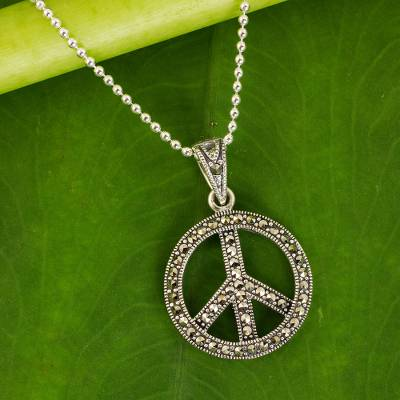 Marcasite pendant necklace, 'The Peace Sign' - Sterling Silver 925 and Marcasite Peace Sign Necklace