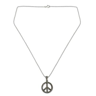 Marcasite pendant necklace, 'The Peace Sign' - Sterling Silver 925 and Marcasite Peace Sign Necklace