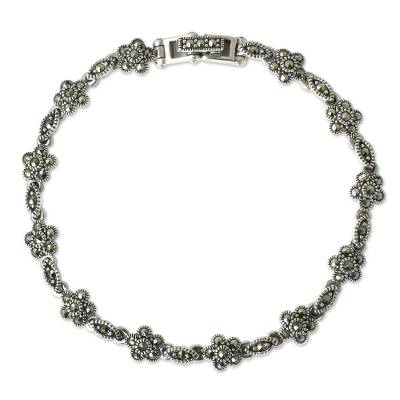 Unique Marcasite and Sterling Silver Floral Link Bracelet