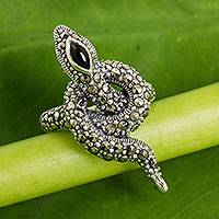 Marcasite, garnet and onyx cocktail ring, 'The Snake' - Silver Snake Cocktail Ring with Marcasite, Garnet and Onyx