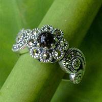 Onyx flower ring, 'Moonlight Blossom'