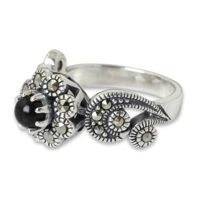 Onyx flower ring, 'Moonlight Blossom' - Ornate Silver Floral Ring with Onyx and Marcasite
