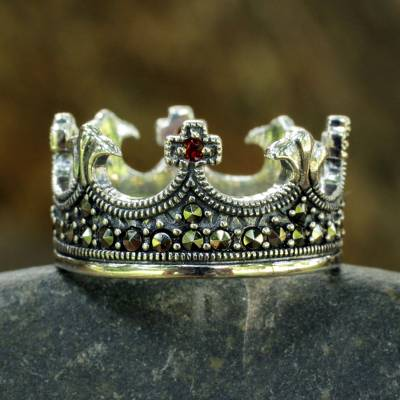 Handmade Thai Silver Crown Ring with Garnet and Marcasite