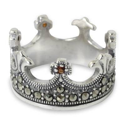 Garnet and marcasite band ring, 'Coronation' - Handmade Thai Silver Crown Ring with Garnet and Marcasite