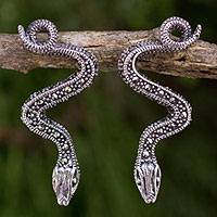 Marcasite drop earrings, 'Tropical Snake' - Handcrafted Sterling Silver and Marcasite Snake Earrings