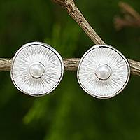 Cultured pearl button earrings, 'Sublime Moons'