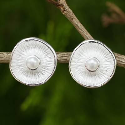 Cultured pearl button earrings, 'Sublime Moons' - White Cultured Pearls on Sterling Silver Button Earrings