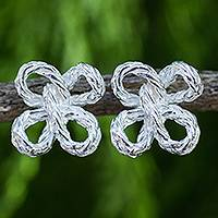 Sterling silver button earrings, 'Rope Clover' - Modern Jewelry Sterling Silver Earrings from Thailand