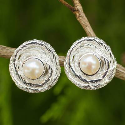 Cultured pearl button earrings, 'Coils' - Artisan Crafted Cultured Pearl Thai Silver Button Earrings