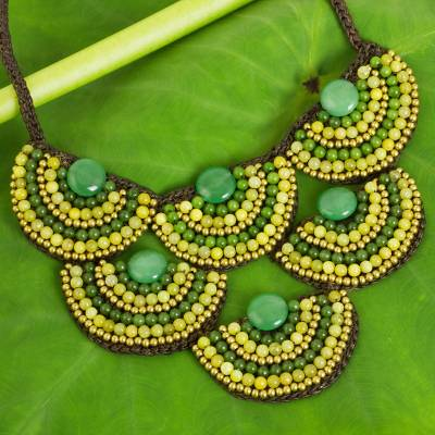 Beaded necklace, 'Yellow Green Waterfall' - Hand Crafted Beaded jewellery Necklace from Thailand