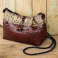 Natural fibers with cotton accent shoulder bag, 'Brown Siam Parade' - Natural Fibers Thai Shoulder Bag Woven by Hand