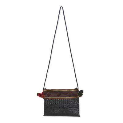 Novica Natural fibers with cotton accent shoulder bag, Akha Wonder of Black