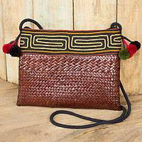 Natural fibers with cotton accent shoulder bag, 'Akha Wonder of Brown' - Natural Fiber Hill Tribe Shoulder Bag Woven by Hand