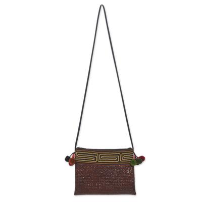 Novica Natural fibers with cotton accent shoulder bag, Akha Wonder of Brown