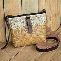 Natural fibers with leather accent shoulder bag, 'Thai Elephant Parade' - Hill Tribe Natural Fiber Shoulder Bag with Leather Accents