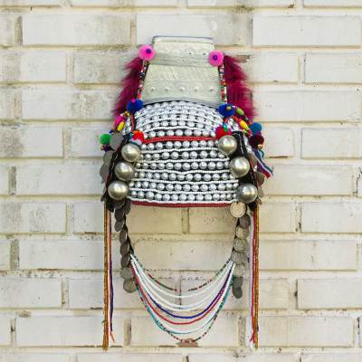 Beaded Akha headdress, 'Timeless Muse II' - Traditional Hill Tribe Akha Headdress for Decorative Use