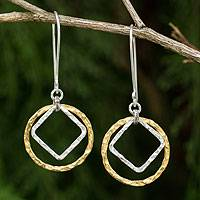 Gold plated dangle earrings, 'Moonrise Window' - Thai Handmade Geometric Gold and Silver Plated Earrings