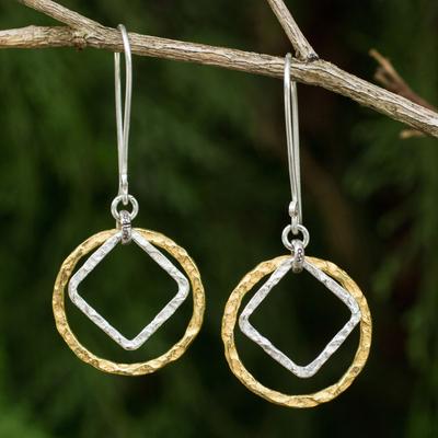 Gold plated dangle earrings, 'Moonrise Window' - Thai Handmade Geometric Gold and Silver Plated Earrings