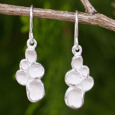 Sterling silver dangle earrings, 'Seed Pod' - Original Thai Handmade Textured Sterling Silver Earrings