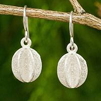 Sterling silver dangle earrings, 'Pumpkin' - Thai Handmade Contemporary Sterling Silver Earrings