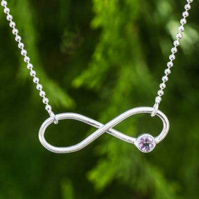 Sterling silver and amethyst pendant necklace, 'Pure Infinity' - Amethyst on Infinity Symbol Sterling Silver Necklace