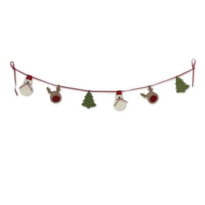 Christmas Garland With Felt Snowmen Deer And Christmas Trees Merry Holiday