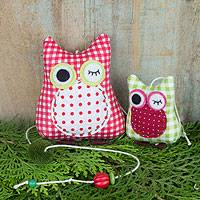 Cotton mobile, 'Winking Owls in Red' - Red Green Gingham Owls on Decorative Mobile