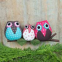 Cotton ornament, 'Joyful Owl Family' - Three Cotton Owls on a Branch Hanging Ornament from Thailand