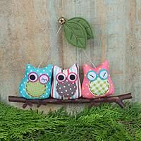 Cotton ornament, 'Happy Owl Pals' - Owls on a Tree Branch Artisan Crafted Hanging Ornament