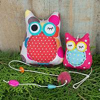 Cotton owl hanging, 'Polka Dot Owls' - Cotton Decorative Mobile Ornament for Holiday Season