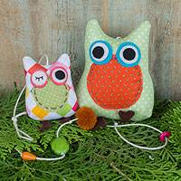Cotton owl hanging, 'Pastel Owls' - Owls in Polka Dot and Argyle on Decorative Mobile