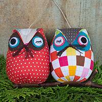 Cotton ornament, 'Hip Owls' - Hand Crafted Cotton Hanging Animal Themed Bird Ornament