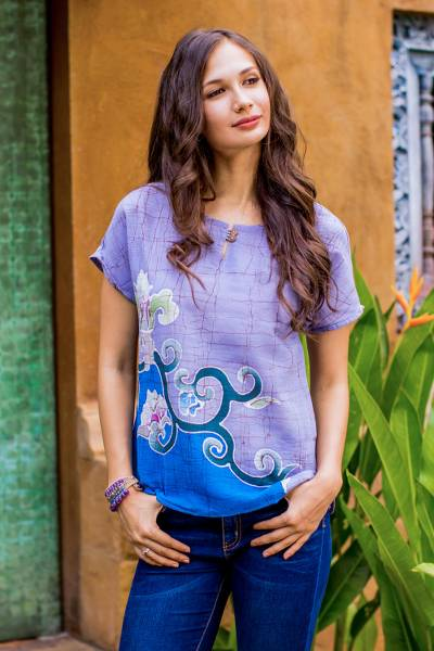 Cotton batik blouse, 'Thai Spring' - Handcrafted Batik on Cotton Floral Sheer Women's Blouse