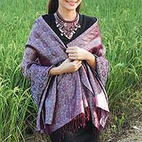 Rayon and silk blend shawl, 'Mandarin Dusk' - Rich Purple and grey Rayon Blend Jacquard Shawl