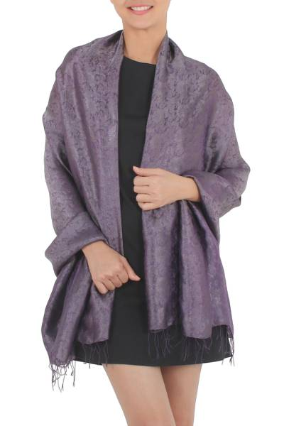 Rayon and silk blend shawl, 'Mandarin Dusk' - Rich Purple and Gray Rayon Blend Jacquard Shawl