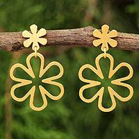 Gold vermeil flower earrings, 'Flower Power' - Handcrafted Floral Gold Vermeil on Silver Dangle Earrings