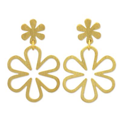 Gold vermeil flower earrings, 'Flower Power' - Handcrafted Floral Gold Vermeil on Silver Dangle Earrings