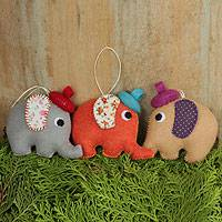 Holiday ornaments, 'Elephant Siblings' (set of 3) - Artisan Crafted Felt Ornaments from Thailand (Set of 3)