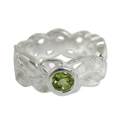 Sterling Silver Band Ring with Peridot Solitaire