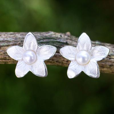 Cultured freshwater pearl button earrings, 'Blossom Pearl' - Feminine Cultured Freshwater Pearl and Silver Earrings