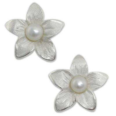 Feminine Cultured Freshwater Pearl and Silver Earrings