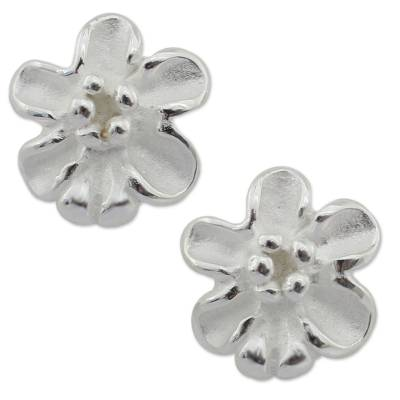 Handcrafted Sterling Silver 925 Flower Button Earrings