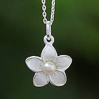 Cultured freshwater pearl pendant necklace, 'Blossom Pearl' - White Pearl and Sterling Silver Flower Pendant Necklace