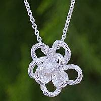 Sterling silver pendant necklace, 'Blossoming Rope' - Unique Silver Flower Pendant Necklace from Thai Artisan