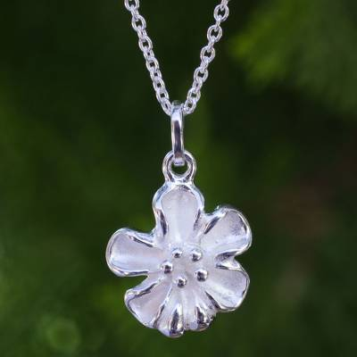 Sterling silver pendant necklace, 'Petite Bloom' - Artisan Crafted 925 Silver Flower Necklace on Cable Chain