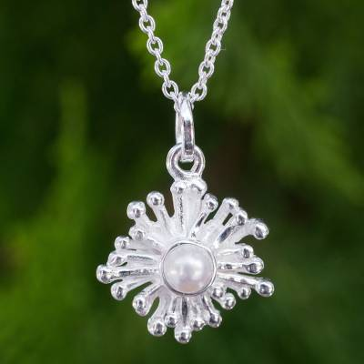 Cultured freshwater pearl pendant necklace, 'Petite Seaflower' - Handmade Sea Anemone Pearl and Silver Necklace