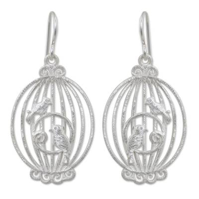 Sterling silver dangle, 'Nightingale Romance' - Brushed Sterling Silver Birdcage Earrings Crafted by Hand