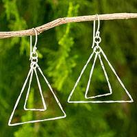 Sterling silver dangle earrings, 'Future Is Now' - Sterling Silver Triangle Earrings Crafted by Hand
